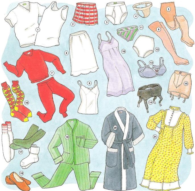 vocabulario ropa interior en ingles